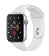 Apple Watch Series 5 44mm (GPS) Silver Aluminum Case with White Sport Band (MWVD2GK/A)
