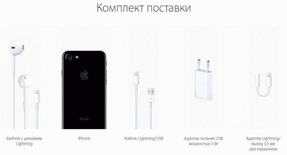 Комплектация 7 айфона