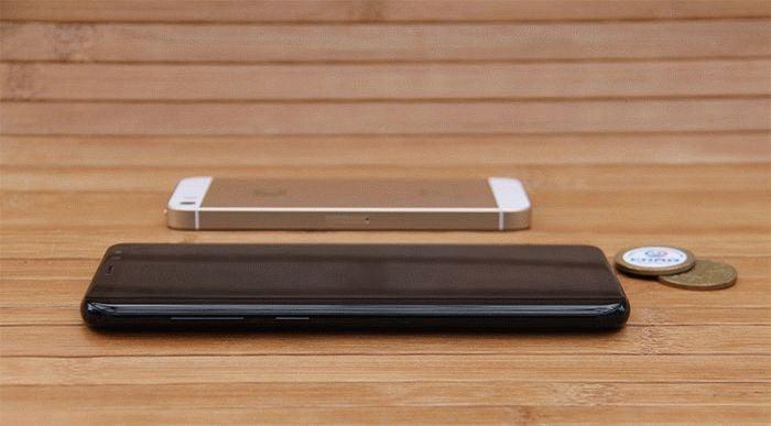 Galaxy S8 Plus и iPhone SE сбоку
